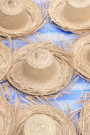 Straw hat in local market, Luang Prabang Laos  photo