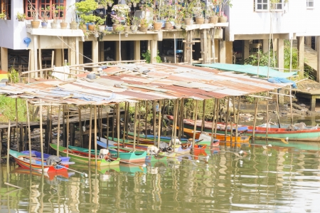 Boat Shed in Chanthaburi river, Chanthaburi province Thailand  photo