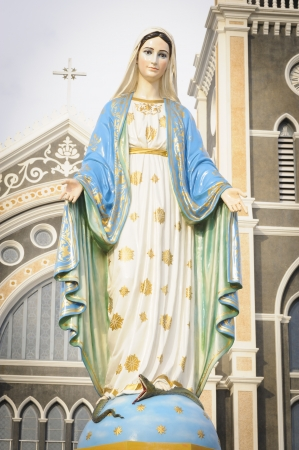 god figure: Virgin Mary Statue in Roman Catholic Church place belief of community Chanthaburi, Thailand