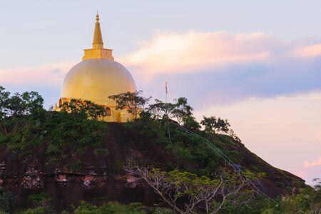 venerate: Sunrise landscape of the golden pagoda on Phu Lanka, Thailand  Stock Photo