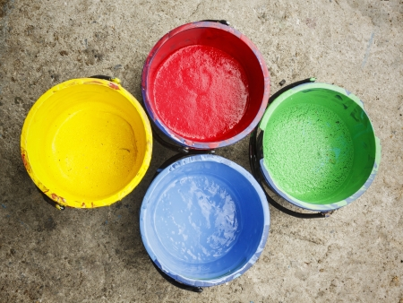 screen printing: Old containing colorful plastisol silkscreen  Stock Photo