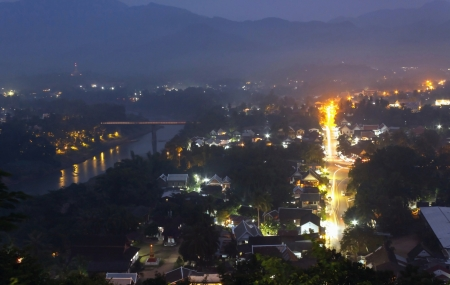 Beautiful twilight landscape of luang prabang from mount Phou Si, Laos  photo