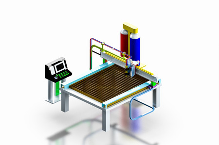 Model industrial plasma cutter machine on isolated, 3D render  photo
