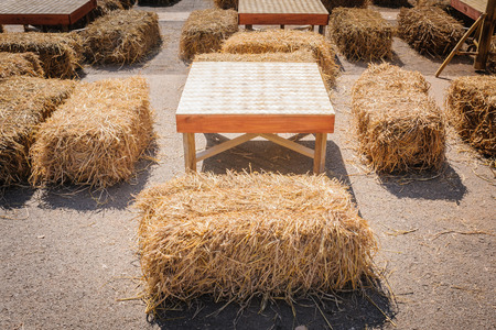contryside: table and straw chair in contryside
