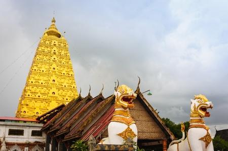 wiwekaram: Chedi Buddhakhaya in Wat Wat Wang Wiwekaram is a symbol of Sangkhlaburi, Kanchanaburi, Thailand. Stock Photo
