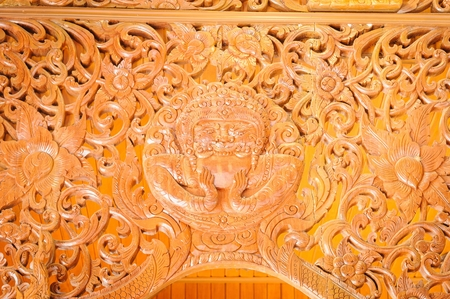teak wood: Beautiful Rahu teak wood sculptures Thai temple in Chanthaburi, Thailand.