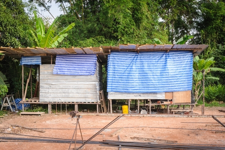 accommodation: Labor accommodation camp in building site.