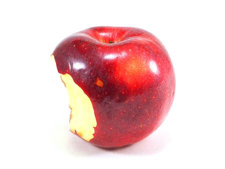 friut: Red apple bite on white background Stock Photo