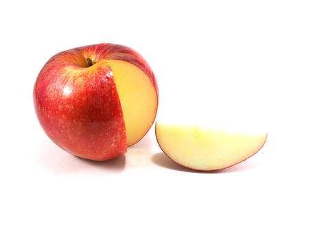 Red apple slice on white background Stock Photo