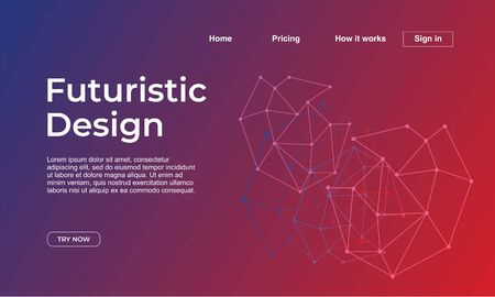 Landing page template with futuristic design theme gradient abstract colorful background. Vector illustration Foto de archivo