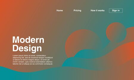 Modern design of landing page with abstract geometric minimalist and gradient colors. Vector illustration