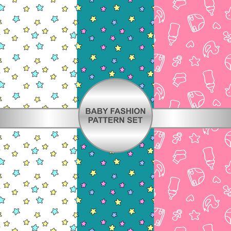 Seamless baby fashion pattern set