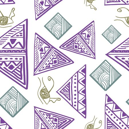 seamless tribal pattern multicolor. Vector illustration for women fashion wrapping textile and print. Stock Photo