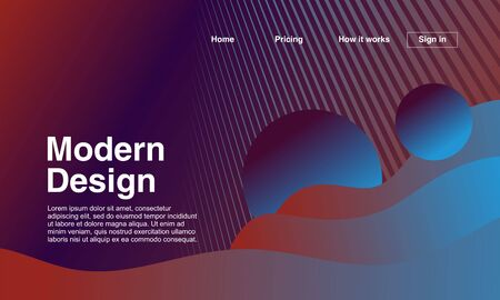 Trendy landing page with modern design. Geometric abstract colorful background with gradient. Vector illustration