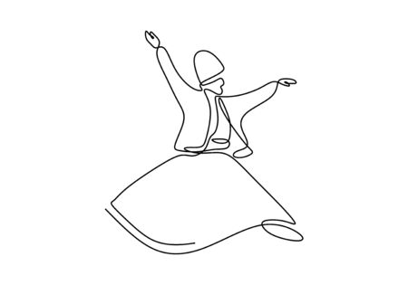 Whirling dervish continuous one line drawing minimalist design on white background vector illustration minimalism style.