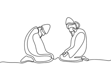 Sufi continuous line drawing minimalist design. Islamic ritual with two person learning to healing his heart and wisdom.