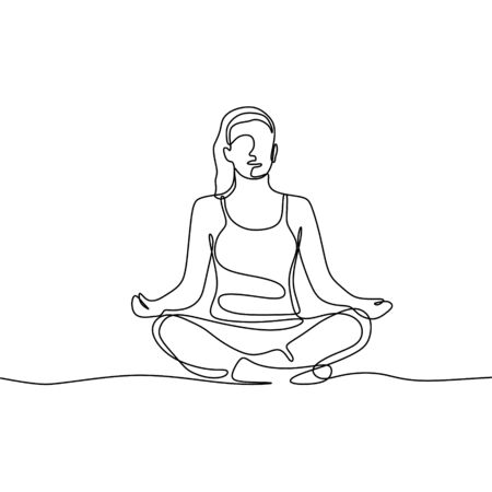 Girl doing meditation and yoga continuous one line drawing