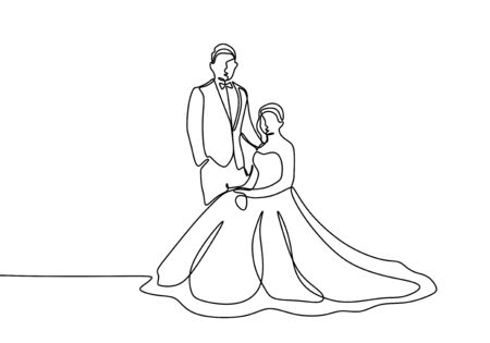 Wedding dress continuous line drawing of couple in love