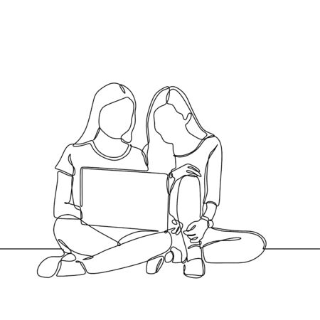 Continuous line drawing of two girl with laptop minimalist design one hand drawn concept of college woman study and discussion