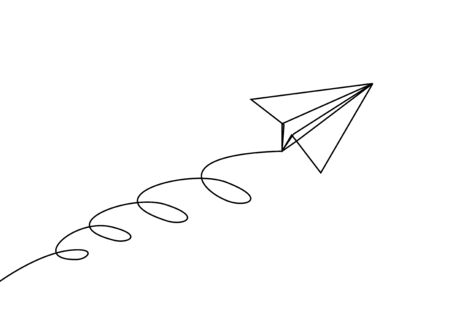 Paper plane line drawing continuous one lineart design minimalism