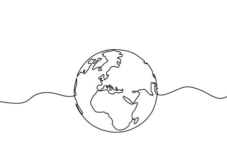 Earth globe one line drawing of world map vector illustration minimalist design of minimalism isolated on white background