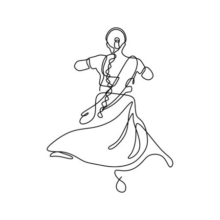 One line drawing of dancing girl minimalism design of indian woman dance traditional simple design
