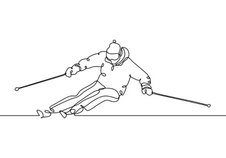 Continuous line ski racer drawings one hand drawn minimalism