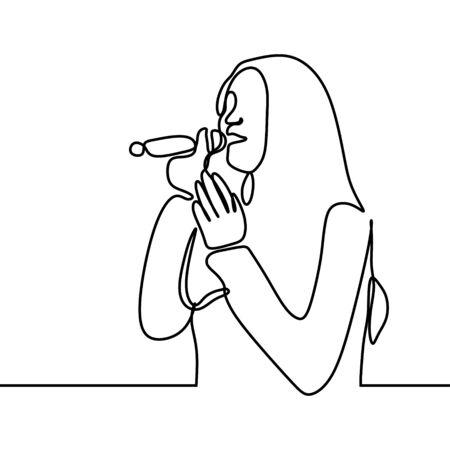 Femme chante une chanson dessin continu d'une ligne de la personne de la musique du chanteur