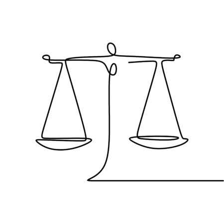 Continuous line drawing of law symbol of weight balance Illustration