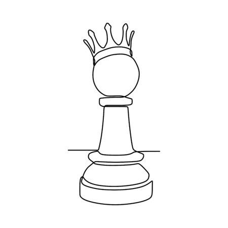 Dessin au trait continu de pièces d'échecs design minimaliste isolé sur fond blanc. Concept tactique de groupe de joueurs