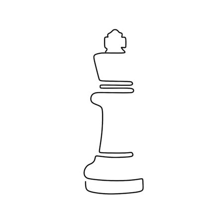 Continuous one line drawing of chess pieces minimalist design isolated on white background. Group of players tactic concept