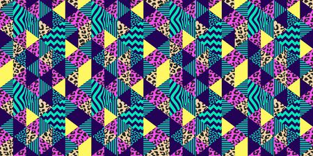 Leopard skin seamless pattern with trendy geometric colorful tropical colors background vector illustration ready for fashion textile print.