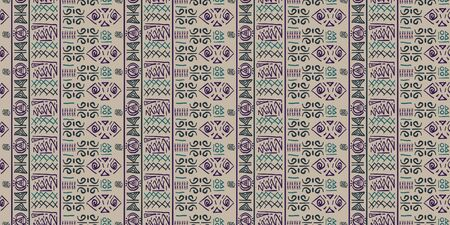 Tribal pattern vector with seamless egyptian symbol ancient style. Vintage illustration background for fashion textile print and wrapping. Standard-Bild - 128951172