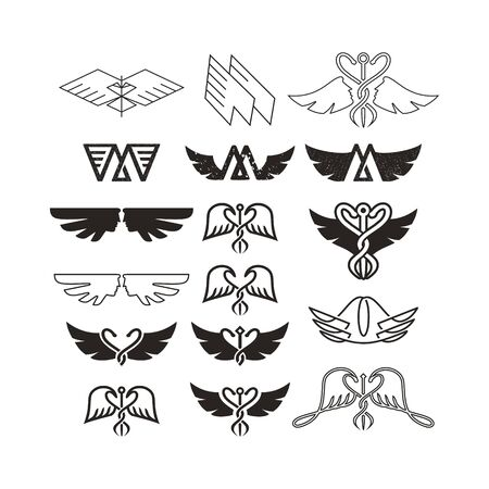 Wings vector set. Wing icon collection with vintage logo style.