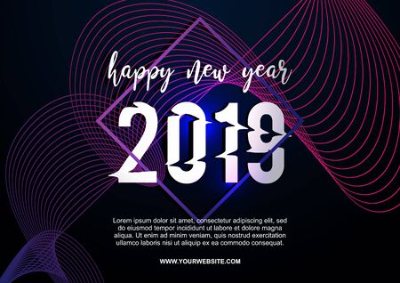 Happy new year 2019 vector poster banner template for web and print eps 10. Neon geometric abstract modern background trendy style for your company branding.