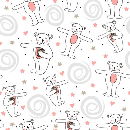 Cute bear doodle drawing seamless pattern vector illustration. Hand drawn funny doll with hearts and dots on white background ready for children, baby, and kids fashion textile print.