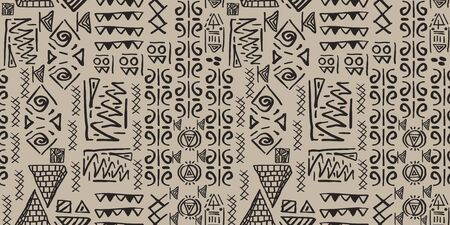 Tribal pattern vector with seamless egyptian symbol ancient style. Vintage illustration background for fashion textile print and wrapping. Standard-Bild - 128951627