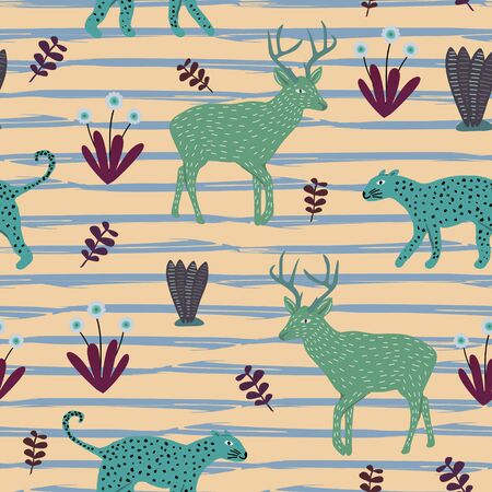 Exotic animal pattern vector. Seamless childish drawing cute jaguar, deer, and floral colorful background for kids and children clothing textile ready for fashion print. print and wrapping.