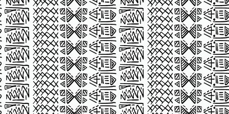 Tribal pattern vector with black and white hand drawn ethnic symbol. Abstract african ancient drawing background ready for fashion textile print and wrapping. Standard-Bild - 128952380