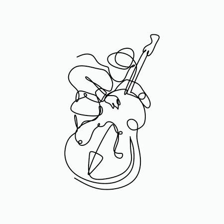 Jazz music player playing with cello bass. One line art drawing style.