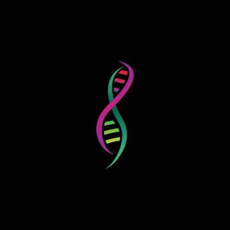 DNA logo icon vector with colorful gradient. Template iconic medical symbol for medicinal, biochemistry, biotechnology company.