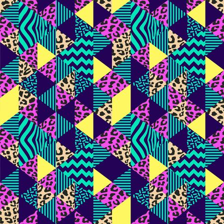 Vector geometric pattern with seamless tribal abstract jaguar and zebra skin for trendy fashion 90s style. Ilustração