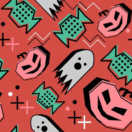 Memphis halloween pattern with creepy creature of pumpkin, ghost, and candy isolated on orange background. Fashion trendy 90s vector for print and textile wrapping.
