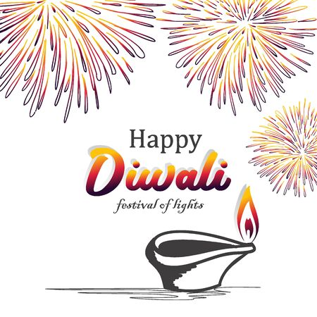 Happy Diwali vector illustration design with hand drawn burning diya and fireworks. Colorful background for Hindu community.