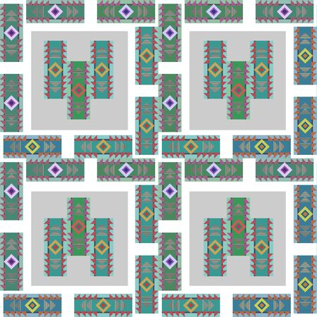 Retro tribal colorful seamless pattern vector illustration background.
