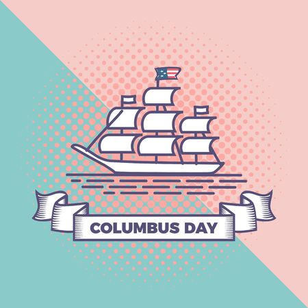 Happy columbus day vector with punchy pastel background. Pop art vintage style background greeting celebration design for american community. Vector Illustration
