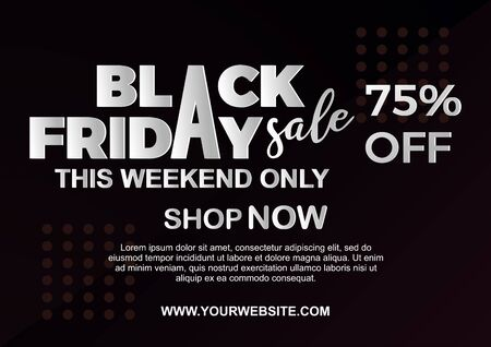 Black Friday Sale poster with paper cut art text, 3d look and horizontal frame. Vector illustration.