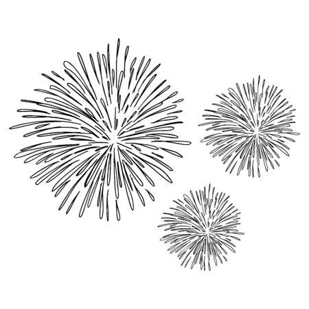 Feux d'artifice dessinés à la main avec illustration vectorielle de croquis de style de dessin.