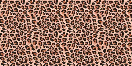 Cheetah huid naadloze patroon vectorillustratie. Kleurrijke trendy modieuze textielmotieven achtergrond.
