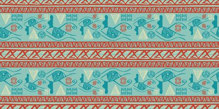 Tribal pattern vector with seamless egyptian symbol ancient style. Vintage illustration background for fashion textile print and wrapping. Standard-Bild - 128955349